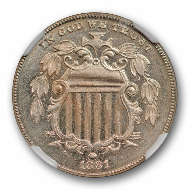 1881 Shield Nickel 5C NGC PR 65 Proof Key Date Low Mintage Beauty Stunning
