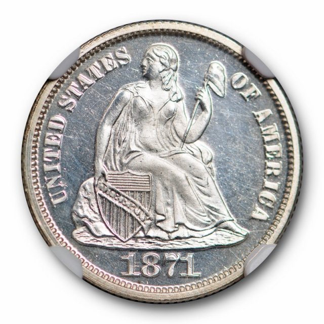 1871 10c Seated Liberty Dime NGC PF 64 Cameo CAC Approved Looks Deep !