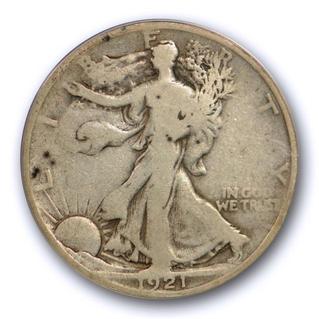 1921 50C Walking Liberty Half Dollar ANACS VG 8 Very Good Key Date Original Coin