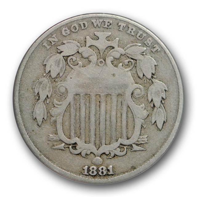 1881 5C Shield Nickel ANACS VF 20 Very Fine Key Date Original Toned