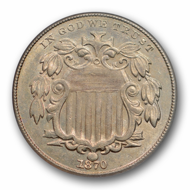 1870 5C Shield Nickel ANACS AU 58 About Uncirculated Better Date Attractive !