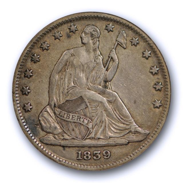 1839 50C With Drapery Seated Liberty Half Dollar ANACS EF 40 XF Extra Fine Nice !