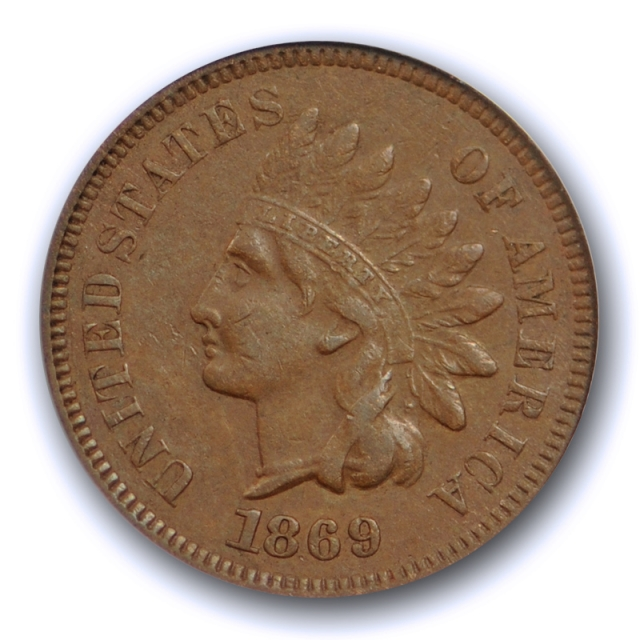 1869/69 1C RPD S-4 Indian Head Cent ANACS EF 40 XF Extra Fine Snow 4 1869/9 Variety