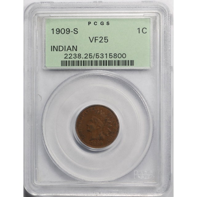 1909 S 1C Indian Head Cent PCGS VF 25 Very Fine to Extra Fine Key Date OGH Old Holder