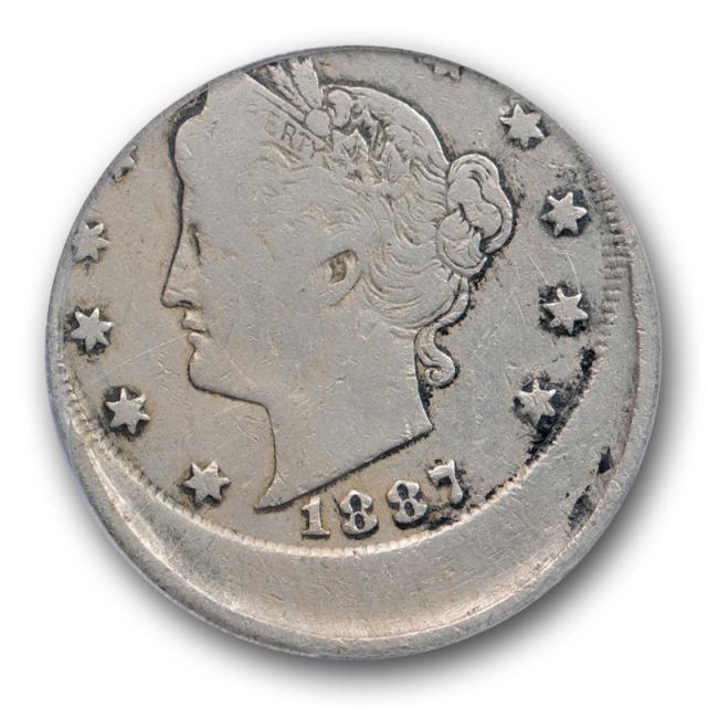 1887 5C Liberty Head Nickel ANACS VG 10 Details Struck 20% Off Center Mint Error