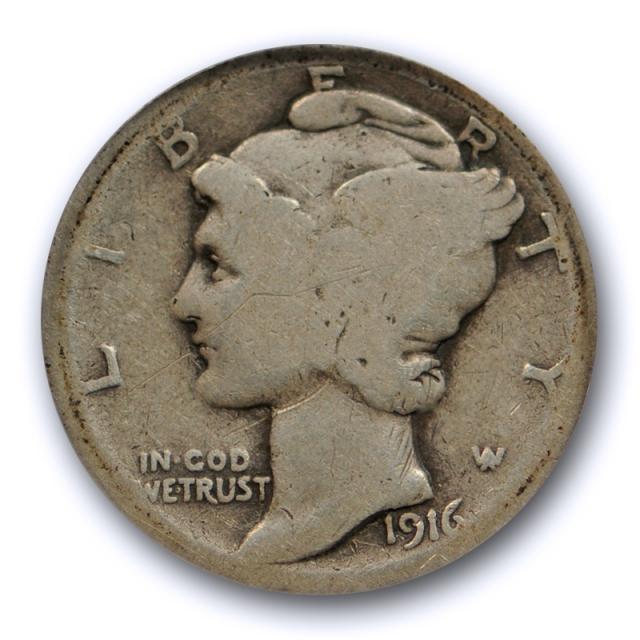 1916 D 10C Mercury Dime ANACS AG 3 About Good Denver Mint Key Date Cert#3651