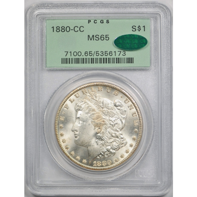 1880 CC $1 Morgan Dollar PCGS MS 65 Uncirculated CAC Approved OGH Nice !