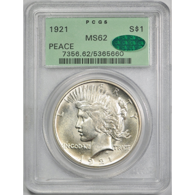 1921 $1 Peace Dollar PCGS MS 62 Uncirculated Key Date CAC Undergraded OGH