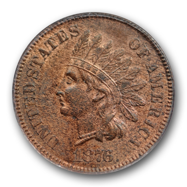1876 1C Indian Head Cent ANACS MS 61 RB Uncirculated Red Brown Better Date