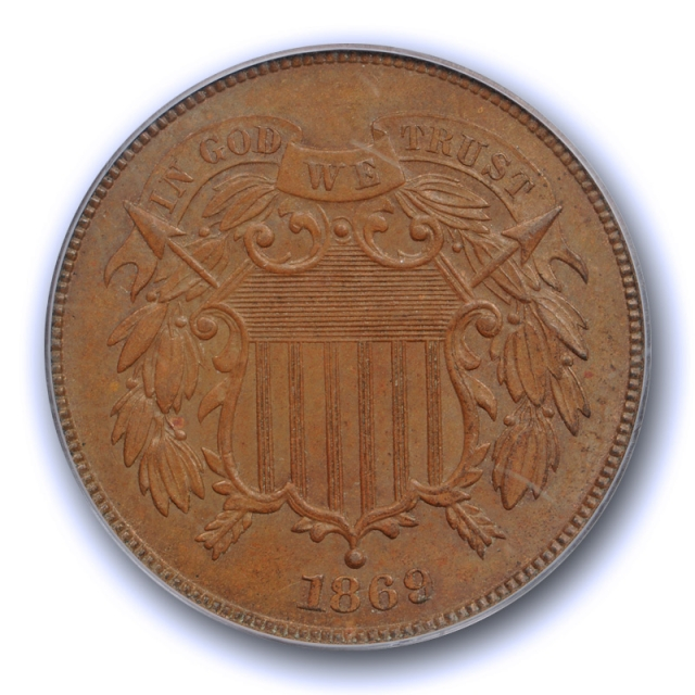 1869 2C Two Cent Piece PCGS MS 64 BN Uncirculated Brown Original US Coin Nice !