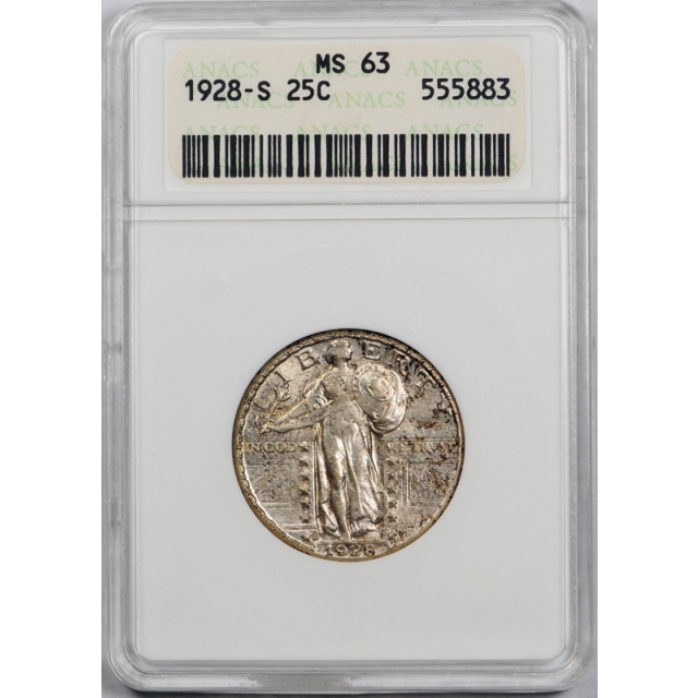 1928 S 25C Standing Liberty Quarter ANACS MS 63 Uncirculated Old Holder