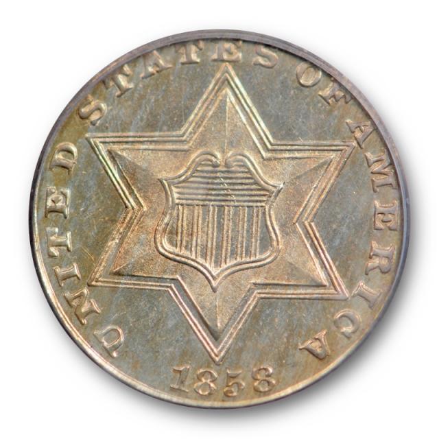 1858 3CS Proof Three Cent Silver PCGS PR 63 Tough Date ! Population 18 ! Rare