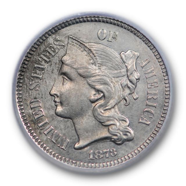 1873 3CN Closed 3 Three Cent Nickel Piece ICG MS 63 Uncirculated Sharp
