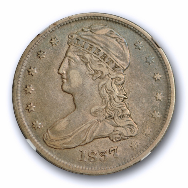 1837 Capped Bust Half Dollar Reeded Edge NGC XF 40 Extra Fine Blue / Purple Toned !