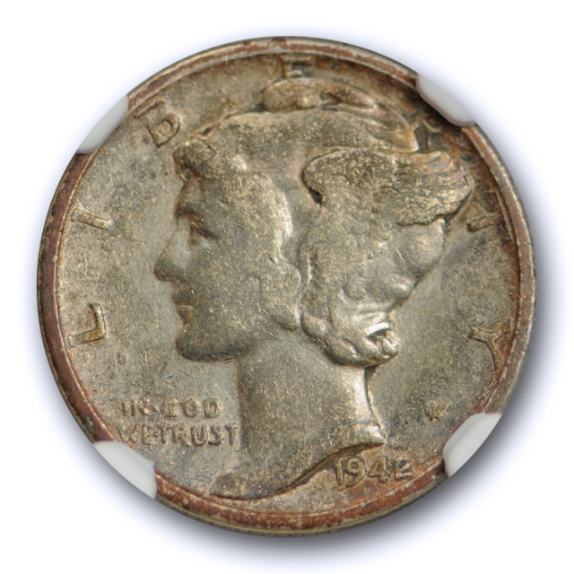 1942/1 10c Mercury Dime NGC VF 20 Very Fine Overdate 1942/41 Variety Coin !