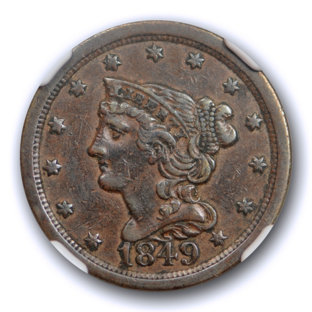 1849 Braided Hair Half Cent NGC XF 40 Extra Fine Large Date C-1 Tough Date Cert#5011
