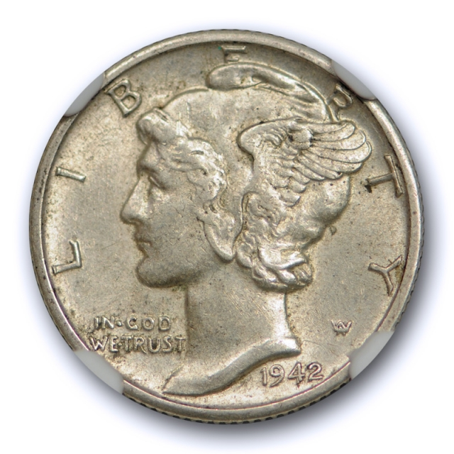 1942/1 D 10c Mercury Dime NGC AU 58 FB Full Bands CAC Approved 1942/41