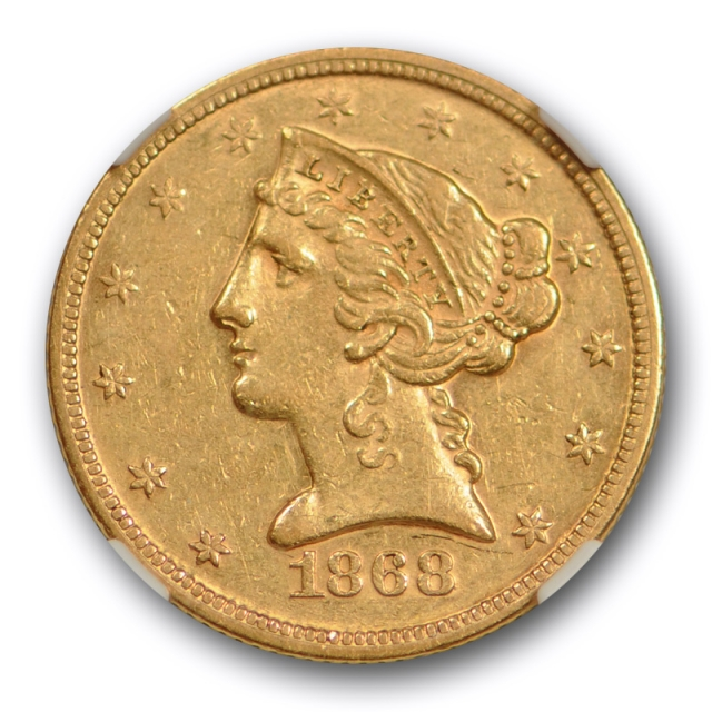 1868 $5 Liberty Head Half Eagle Gold NGC AU 55 About Uncirculated Rare Date !