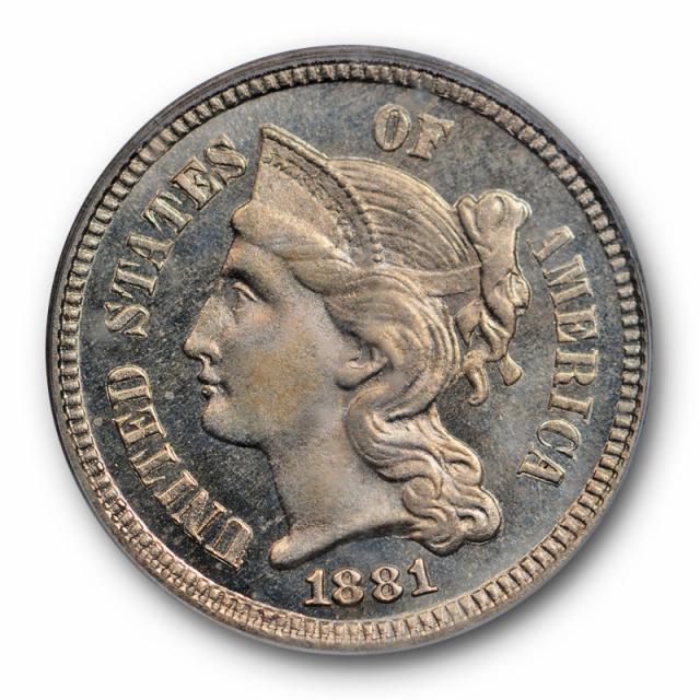 1881 3CN Three Cent Nickel PCGS PR 65 Proof Issue Low Mintage