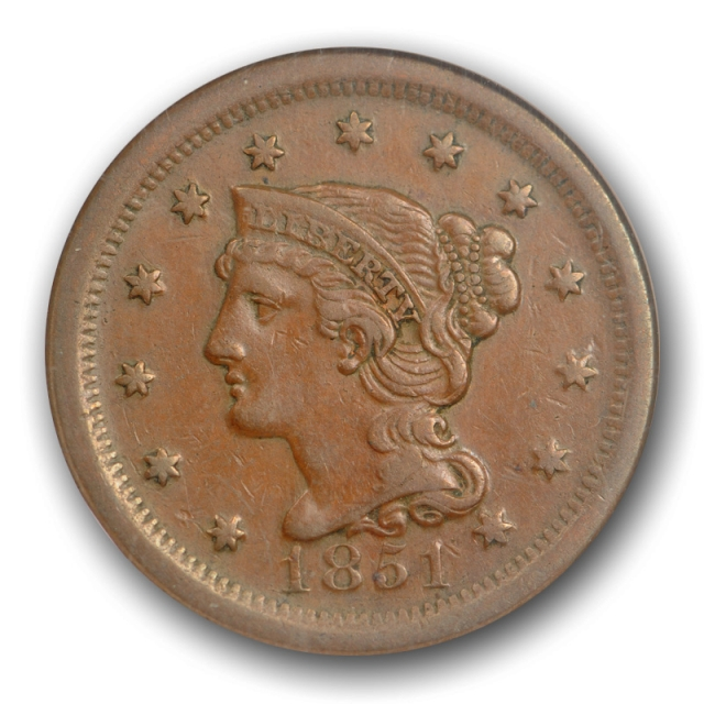 1851 1C Braided Hair Large Cent NGC AU 50 About Uncirculated US Type