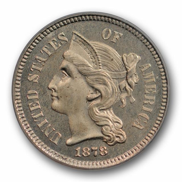 1878 3CN Proof Three Cent Nickel PCGS PR 65 Low Mintage Key Date Nice !