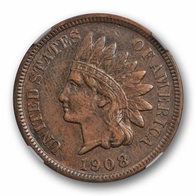 1908 S 1c Indian Head Cent NGC XF 45 Extra Fine to About Uncirculated Key Date Cert#7002