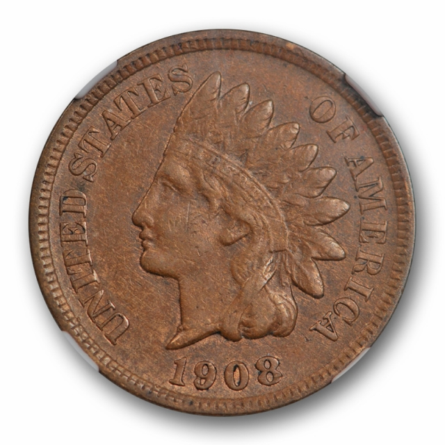 1908 S 1c Indian Head Cent NGC XF 45 Extra Fine to About Uncirculated Key Date Cert#7006