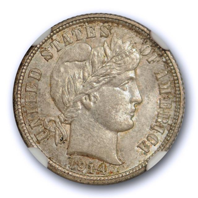 1914 D 10c Barber Dime NGC MS 66 Uncirculated Crusty Original Toned Nice !