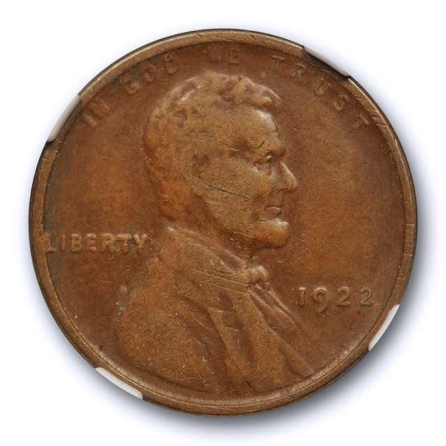 1922 No D 1c Lincoln Wheat Cent NGC VF 25 Very Fine to Extra Fine Key Variety