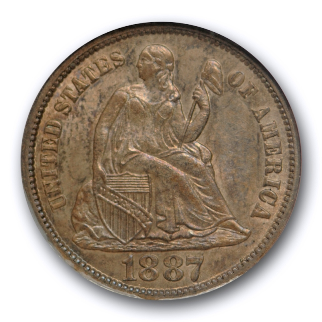 1887 S 10c Seated Liberty Dime NGC MS 64 Uncirculated San Francisco Mint