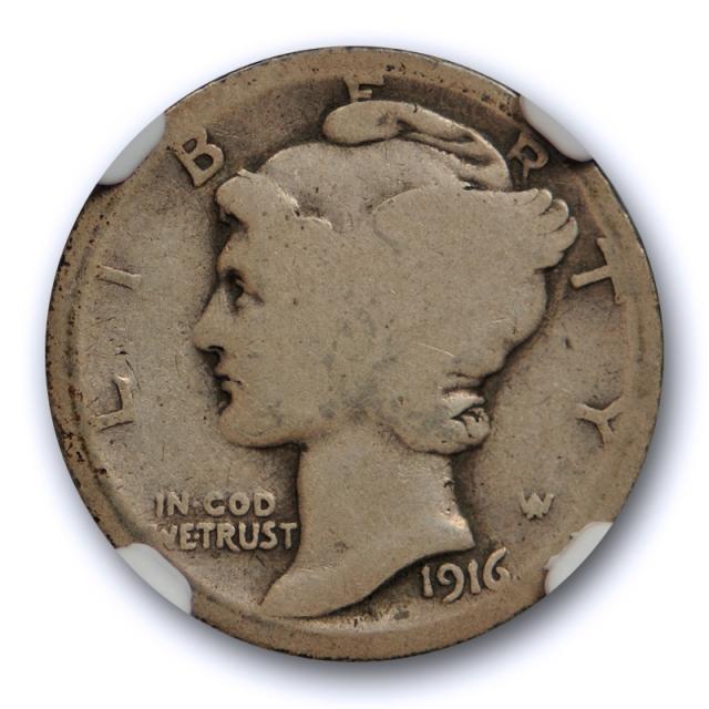 1916 D 10c Mercury Dime NGC AG 3 About Good Denver Mint Key Date Cert#2005