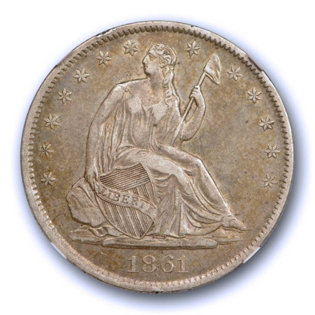1861 O 50c Seated Liberty Half Dollar NGC XF 45 Speared Olive Leaf Variety Tough !