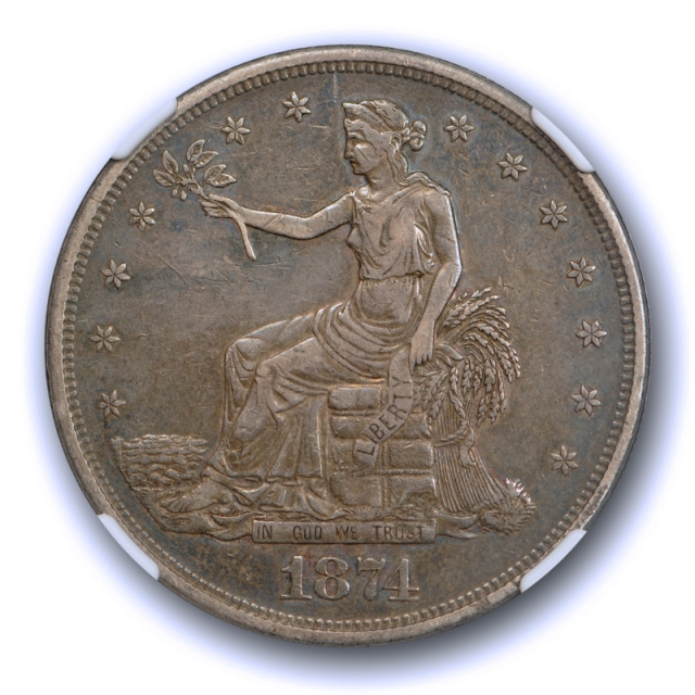 1874 $1 Trade Dollar NGC AU 50 About Uncirculated Original Toned Better Date Tough !