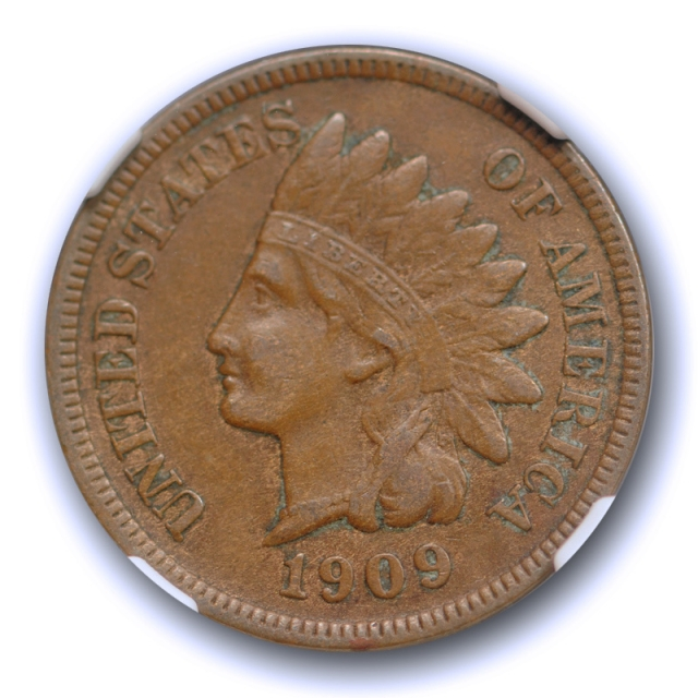 1909 S 1c Indian Head Cent NGC XF 45 Extra Fine to About Uncirculated Key Date Cert#5003