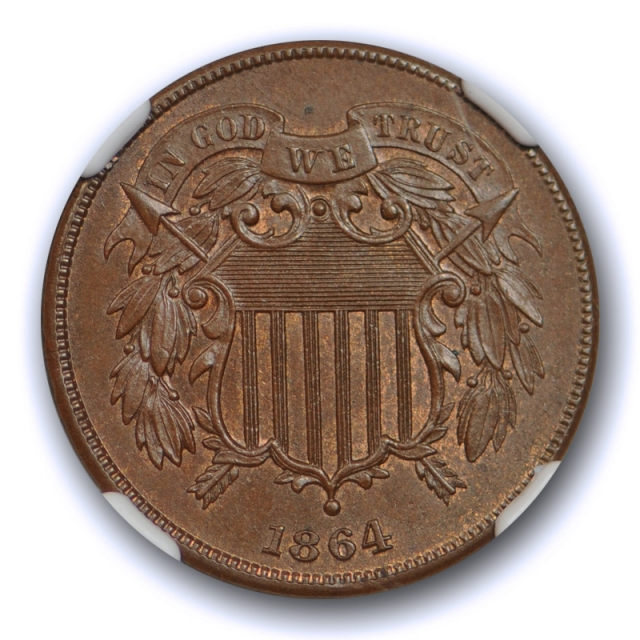 1864 2c Two Cent Piece NGC MS 64 BN Uncirculated Exceptional US Type Coin !