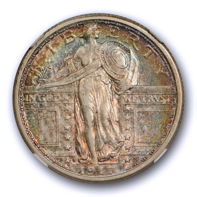 1917 S 25c Type One Standing Liberty Quarter NGC AU 55 Colorful Toned Beauty TY 1