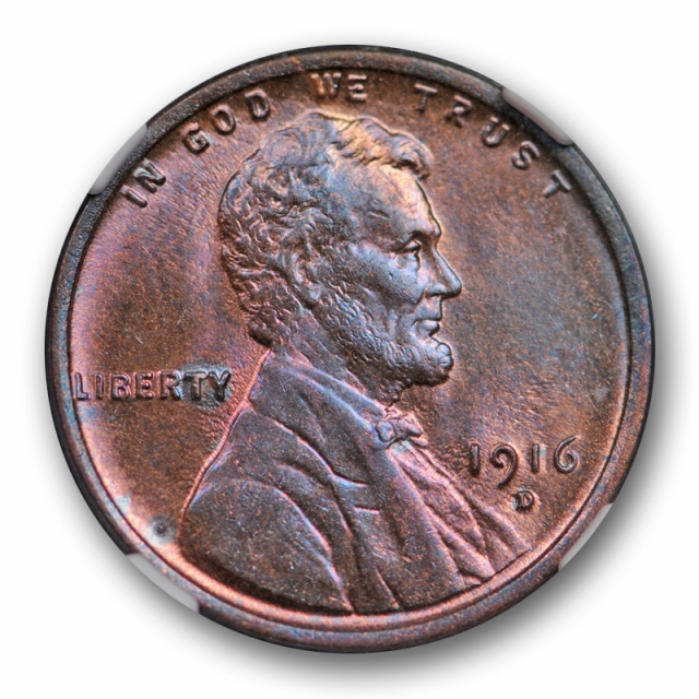1916 D 1c Lincoln Wheat Cent NGC MS 65 RB Uncirculated Red Brown Pretty Toned !