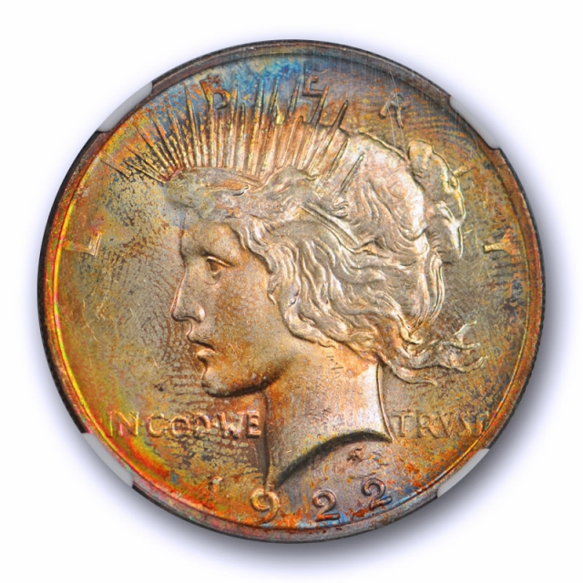 1922 $1 Peace Dollar NGC MS 63 Uncirculated Colorful Monster Toned Beauty !