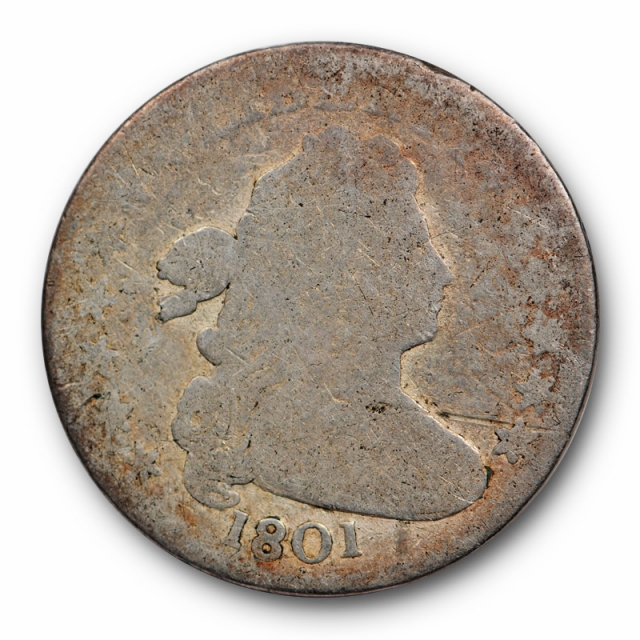 1801 10C Draped Bust Dime About Good AG Key Date Low Mintage Tough Date