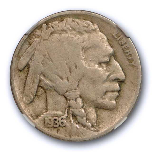 1936 D 5C 3 1/2 Legs Buffalo Head Nickel NGC F 12 Three & Half Legged Very