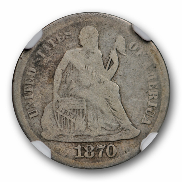 1870 S 10c Seated Liberty Dime NGC VG 8 Very Good Key Date Rare !