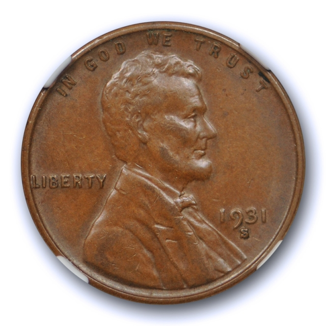 1931 S 1c Lincoln Wheat Cent NGC AU 58 About Uncirculated Key Date Original Nice !