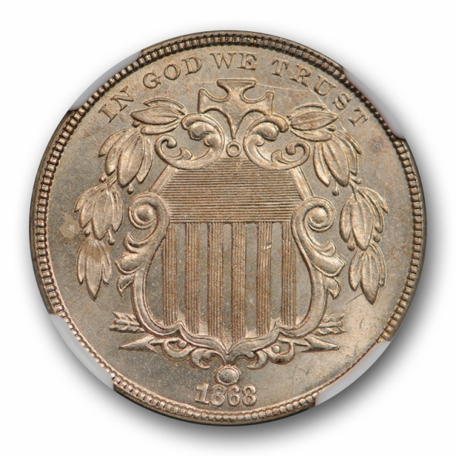 1868 Shield 5C NGC MS 64 Uncirculated US Type Coin Sharp Strike Attractive !