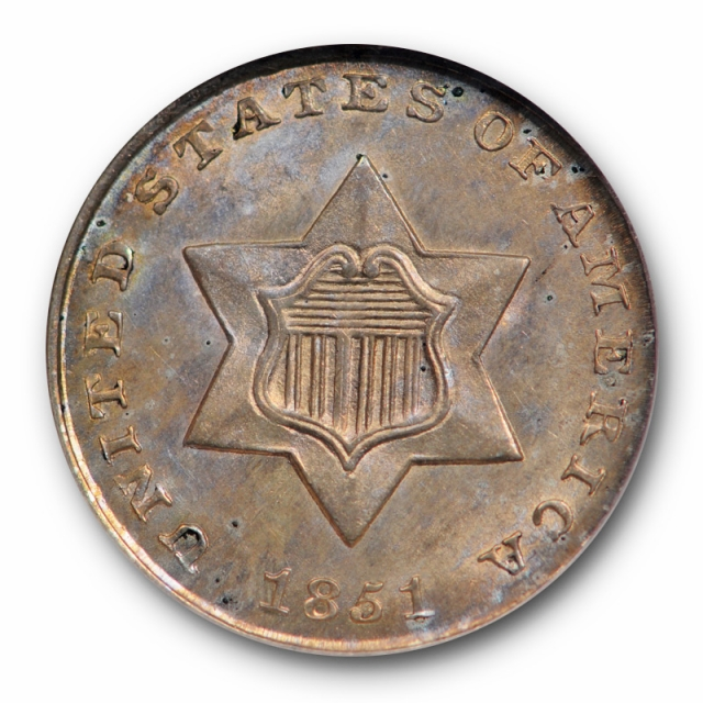 1851 Three Cent Silver Piece NGC MS 65 Uncirculated Toned Attractive