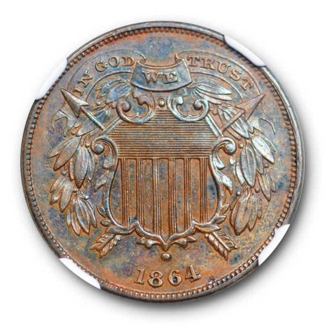 1864 2c Small Motto Two Cent Piece NGC AU 58 About Uncirculated Key Variety