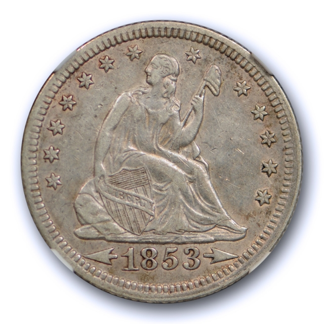 1853 25c Seated Liberty Quarter NGC AU 53 About Uncirculated to MS Arrows & Rays
