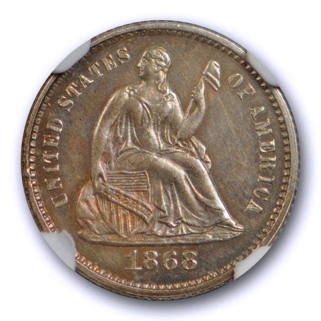 1868 Seated Liberty Half Dime NGC PF 62 PR Proof Low Mintage Toned Coin