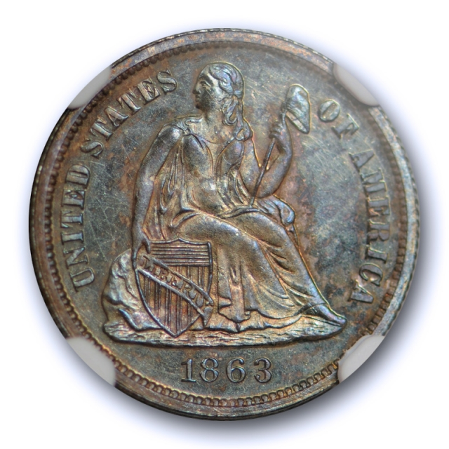 1863 10c Seated Liberty Dime NGC MS 63 Uncirculated Key Date Toned Rare Coin !