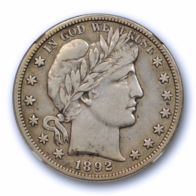 1892 S 50c Barber Half Dollar NGC VF 30 Very Fine to Extra Fine Key Date Tough !