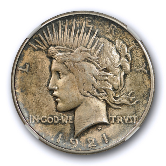 1921 $1 Peace Dollar High Relief NGC MS 63 Uncirculated Toned Key Date Cert#9010